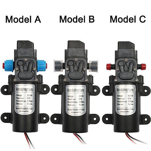 DC 12V 60W Micro Electric Diaphragm Water Pump Automatic Switch 5L/min High Pressure Car Washing Spray Water Pump 0.8Mpa 5L/min