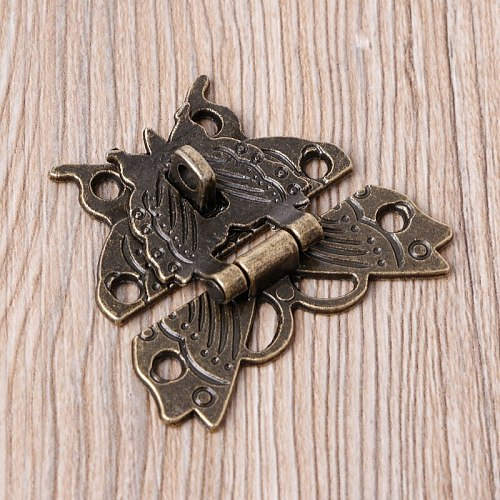 Beautiful Butterfly Design Antique Bronze Hasp Latch Jewelry Wooden Box Lock Cabinet Buckle Case Locks Handle Hardware Accessory
