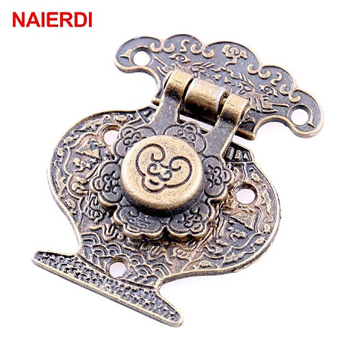 5PCS NAIERDI Antique Bronze Hasp Latch Jewelry Wooden Box Lock Mini Cabinet Buckle Case Locks Decorative Handle Hardware