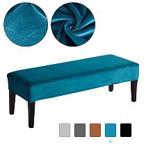 Velvet Long Bench Cover Stretch Piano Bench Cover for Home Office Hotel Solid Color Washable Seat Case Spandex Chair Cover