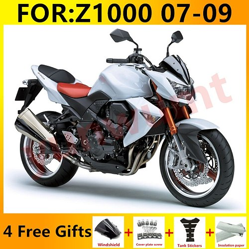 Full Fairing Kit For Kawasaki Ninja Z1000 2007 2008 2009 Z 1000 07 08 09 Motorcycle Bodywork set white fairings