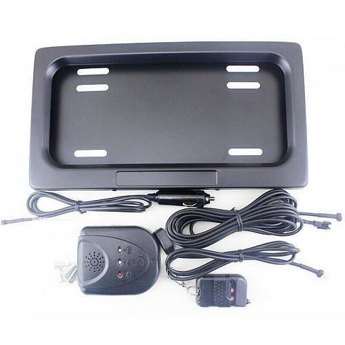 1 Set Hide-Away Shutter Cover Up Electric Stealth License Plate Frame with Remote