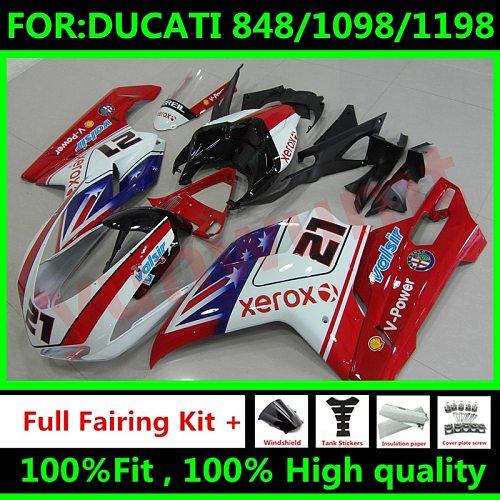 New ABS Motorcycle Full Fairings Kit Fit for DUCATI 848 1098 1198 2007 2008 2009 2010 2011 2012 Fairing Set Red white blue 21