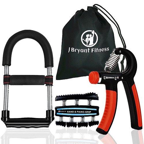 Set of 3 Multifunction Hand Grip Wrist Strengthener Forearm Grip Workout Kit Adjustable Hand Gripper Exerciser Fitness Equipment