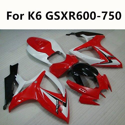 6 Colour Motorcycle For Suzuki GSXR600 GSXR750 GSXR 600 K6 06 07 Full Fairing Kit Red strip sticker Bodywork Kit ABS Cowling