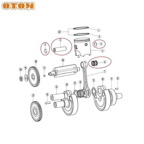 OTOM Motorcycle Crankshaft Connecting Rod Piston Pin W/ Gasket Ring For YAMAHA DT230 MT250 2 Stroke Off Road Engine Part dt 250C