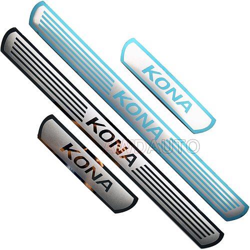 For Hyundai KONA EV Electric Accessory 2021 2020-2017 Ultrathin Carbon Car Door Sill Kick Scuff Plate Protector Trim Cover Guard