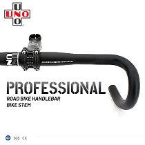 UNO Ultralight Road Bike Handlebar Bike Stem Set Handlebar 31.8 380/400/420/440mm Road Bike Parts 7 Degree Bicycle Stem 31.8mm