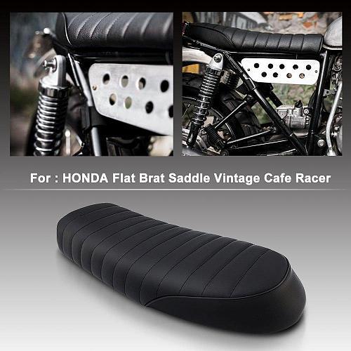 Motorcycle Vintage Saddle Cafe Racer Leather Seat Flat Brat Seat Motorcross Accessories for Honda CB CL Yamaha SR XJ SUZUKI GS