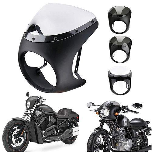 Universal 7  Motorcycle Windshield Headlight Handlebar Fairing Windshield Cafe Racer For Dyna Sportster 1200 883 FLHT Bobber