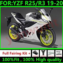 New ABS Motorcycle Injection Full Fairings Kit Fit For Yamaha YZF R3 2019 2020 YZF R25 19 20 R3 Bodywork fairing yellow white