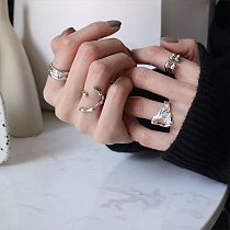 Sterling Silver 925 Ring Hollow Irregular Shape Ring Men And Women Can Wear Adjustable Ring Fashion Ring Womens Rings