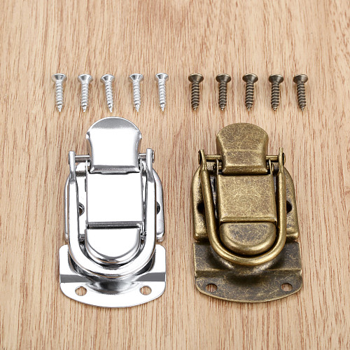 1Pc Vintage Metal Lock Chest Box Gift Box Suitcase Case Buckles Toggle Hasp Latch Catch Clasp Furniture Hardware 34*67mm