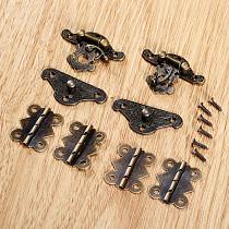 6pcs/set Hinges Iron Antique Bronze + Latch Hasps Toggle Locks Metal Vintage Decorative Wood Jewelry Box furniture hardware