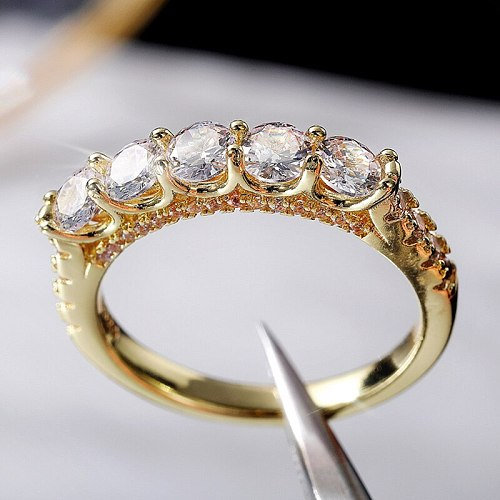 Gold Color Luxury Rings for Women Wedding Party Accessories Inlaid Dazzling Crystal CZ Stone Simple Female Jewelry Drop Shipping