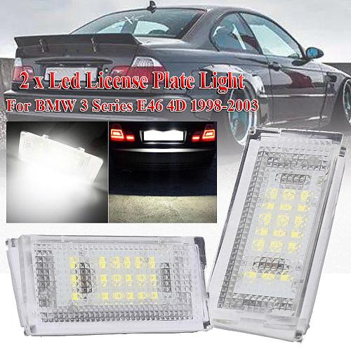 2 pieces Auto Tail Light Led License Plate Light Led Canbus White LED Bulbs For Car 3er E46 4D 1998-2003 Car Accessories