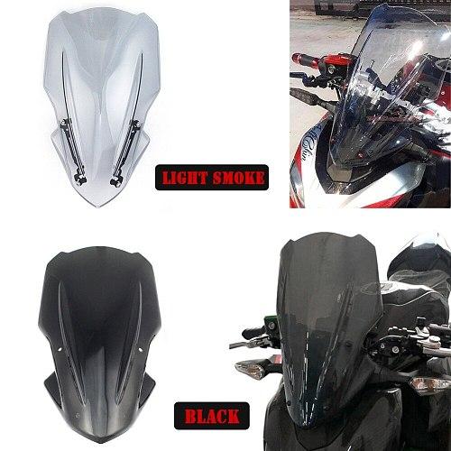 Motorcycle Windshield Windscreens Air Wind Deflector with Bracket For Kawasaki Z900 Z 900 2017 2018 2019 Black Moto pare-brise