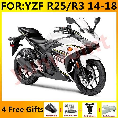 New ABS Motorcycle Full Fairings Kit Fit For Yamaha YZF R3 2015 2016 2017 2018 YZF R25 15 16 17 18 fairing Bodywork black white