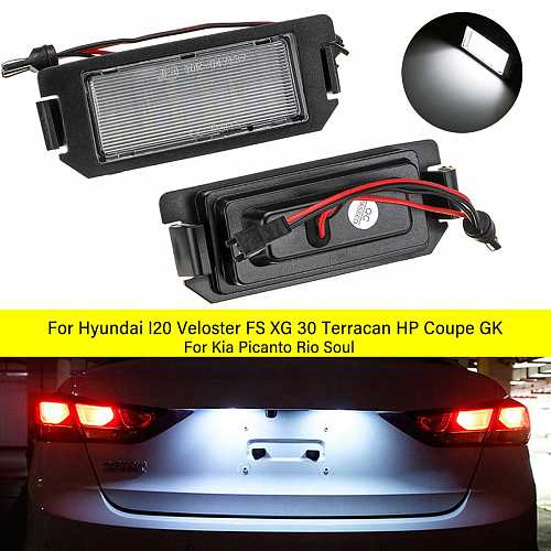 2Pcs LED Number License Plate Light No error For Hyundai I20 I10 Veloster FS XG30 Terracan HP Coupe GK For Kia Picanto Rio Soul