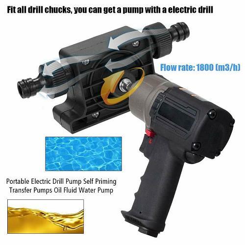 1PCS Portable Electric Drill Pump Diesel Oil Fluid Water pump Mini Hand Self-priming Transfer Pumps 3000rpm 1800L/H Dropshipping