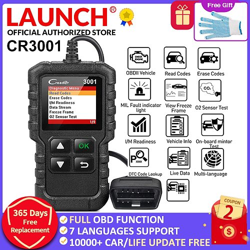 LAUNCH X431 CR3001 Full OBD2 scanner turn off engine CReader 3001 auto Diagnostic tool PK ELM327 code reader Scan tool