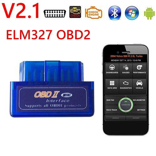 ELM327 V2.1 OBD2 Scanner Mini Bluetooth OBD 2 II Check Engine Light Code Reader Car Diagnostic Tool for Windows Android