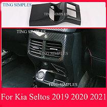 For Kia Seltos 2019 2020 2021 abs chrome Car Accessories Carbon Fiber Style Plated Armrest Rear Box Vent Frame Trim Cover