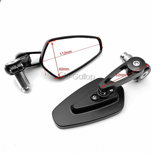 1 Pair 7/8  22mm Universal Motorcycle Aluminum Rear View Black Handle Bar End Side Rearview Mirrors