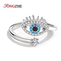 TONGZHE 925 Sterling Silver Adjustable Finger Rings For Women Luck Evil Eye Ring Open Blue Stone Luxury Jewelry Gift