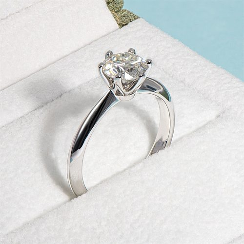 Moissanite 1 Carat Ring 925 Sterling Silver Hearts And Arrows Round White Rings For Women Engagement Wedding Party Jewelry GRA