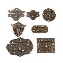 New Vintage Antique Brass Wood Suitcase Box Clasp For Wooden Boxes Hook Furniture Buckle Clasp Lock Decorative Latch Hasp C2264