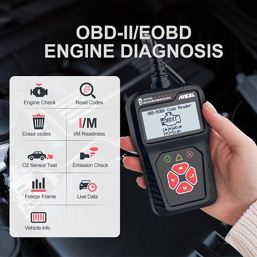 Ancel AS100 OBD Obd2 Scanner Car Automotive Scanner Engine Analyzer Tool Code Reader Obdii Diagnostic Tool Russain PK ELM327