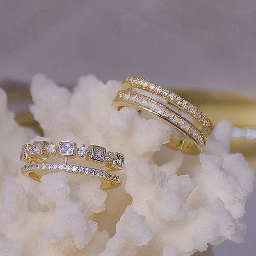 Double Layer Adjustable Eternity Promise Crystal Ring AAA Cz Zircon Engagement Wedding Band Rings for Women Finger Party Jewelry