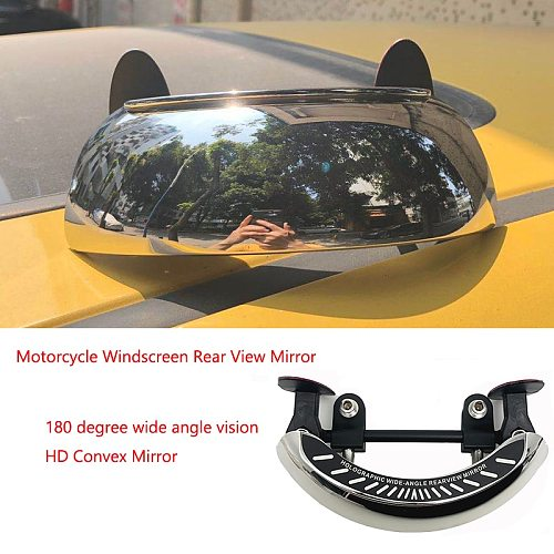 Motorcycle Windscreen 180+ Degree Blind Spot Mirror Wide Angle Rearview Mirrors Safety Auxiliary Rear View Mirror for BMW HONDA