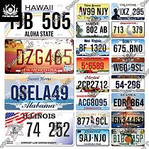 Putuo Decor American States Licenses Plate Tin Sign Car Number Plaque Metal Decorative Plate for Car Garage Living Room Decor