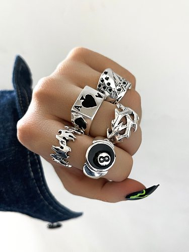 Stillgirl Punk Poker Billiards Rings for Women Funny Goth Kpop Flame Anillos Hip Hop Y2k Korean Fashion Male Couple Gift Jewelry
