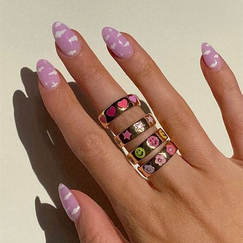 Smile Gal Ring Alien Flower Queen Rings Namel Thick Ring Size Luxury Spring Fine Lucky Jewelry Heart Clouds Rings for Women Gift