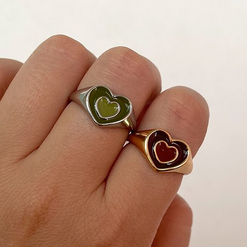 2021 Ins Cute Sweet Colorful Enamel Double Layer Love Heart Ring For Women Girls Fashion New Temperament Jewelry Party Gift