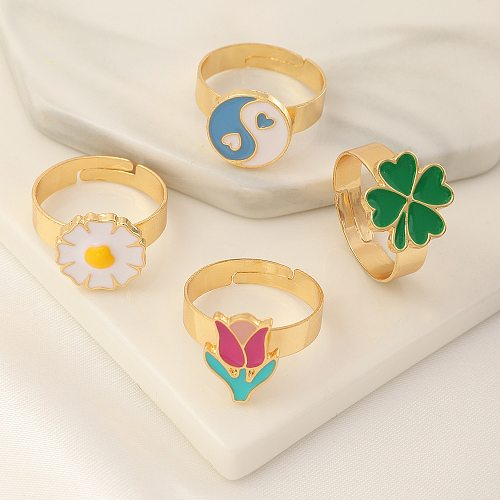 European and American New Fashion Style Jewelry Alloy Oil Drop Adjustable Tail Small Daisy Tulip Rings