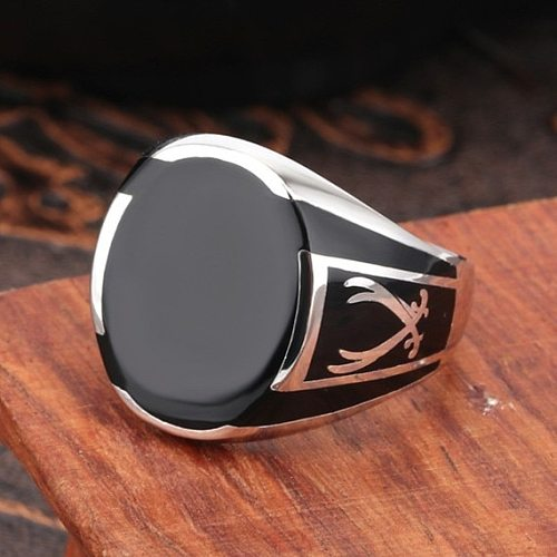 Real S925 pure silver men ring black agate gemstone fashion ring for man
