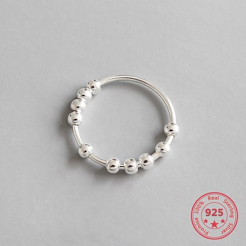 100% 925 Sterling Silver Beaded Open Rings For Women 2018 New Trend INS Simple Style Lady Fashion Jewelry