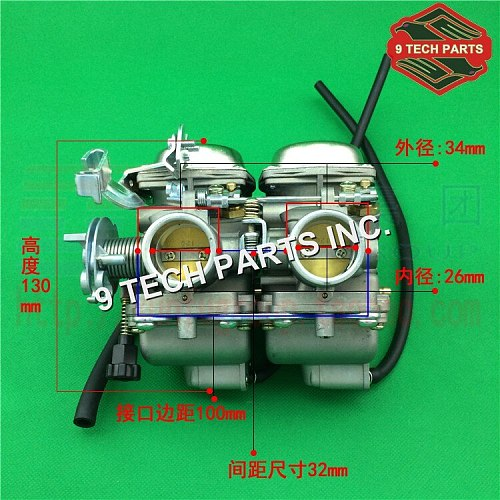 Free shipping Duplex Twin Cylinders Rebel Motorcycle Carburetor Assy Set Chamber Set CMX 250 CBT 250 CA250 DD250 300cc