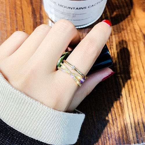 Ins Tide Adjustable Stainless Steel Rings For Women Simple Temperament Engagement Wedding Rings Fashion Jewelry Wholesale 2021