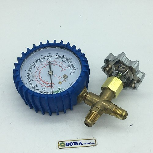 1-Way manifold gauge is used to vaccuum and R12, R22 and R502 refrigerant charging at suction pipe in old fridgers & freezers