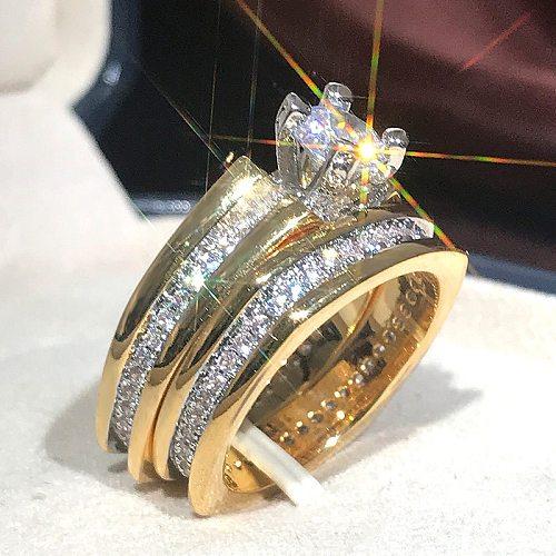2Pcs /set Luxury Bridal Jewelry Gold Color Geometric Shape Rings for Men Women Wedding Micro Pave CZ Lady Proposal Engagement