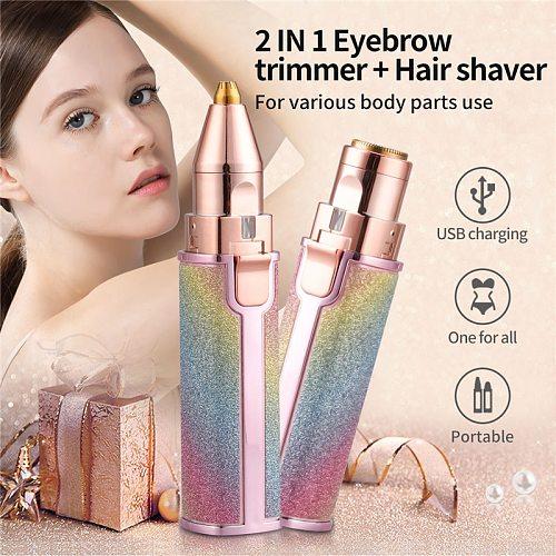 Portable Mini Eyebrow Trimmer Dual Cutter Head Makeup Facial Bikini Underarm Body Hair Remover Painless Shaver Razors For Women