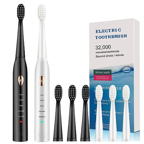 Newest Super Sonic Electric Toothbrushes for Adults Kids Smart Timer Rechargeable Whitening Toothbrush IPX7 with 3 Brush Heads