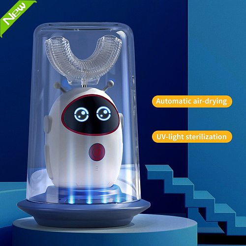 2-12 Years Old Smart 360 U Type  Kids Sonic Electric Toothbrush  Automatic Ultrasonic Teeth Brush Cartoon Pattern Children Brush