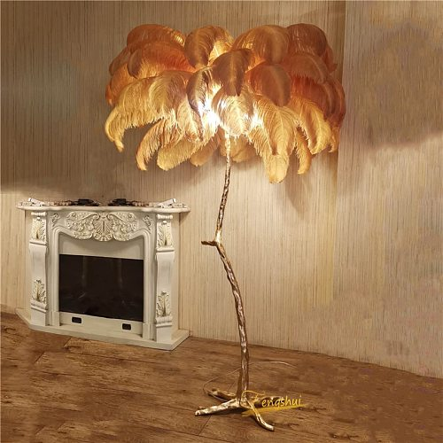 Modern Ostrich Feather Living Room LED Floor Lamps Living Room Bedroom Modern Interior Lighting Decor Floor Light Standing Lamp