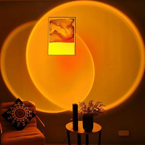 Modern LED Sunset Floor Lamp Indoor Decor Atmosphere Stand Lamp Bedroom Living Room Colorful Club Floor Light Standing Lighting